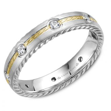 CrownRing 14k Two Tone Gold Diamond Rope 4mm Wedding band