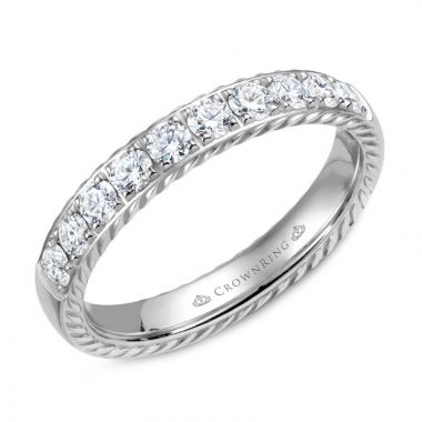 CrownRing 14k White Gold Diamond Rope 4mm Wedding band