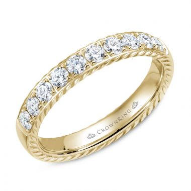 CrownRing 14k Yellow Gold Diamond Rope 4mm Wedding band