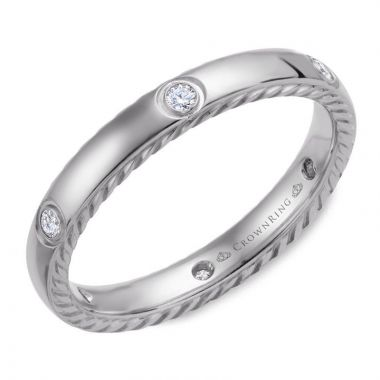 CrownRing 14k White Gold Diamond Rope 3mm Wedding band