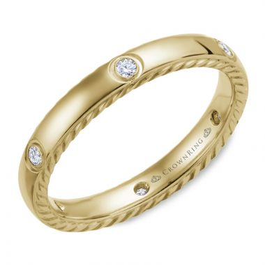 CrownRing 14k Yellow Gold Diamond Rope 3mm Wedding band