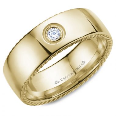 CrownRing 14k Yellow Gold Diamond Rope 8mm Wedding band