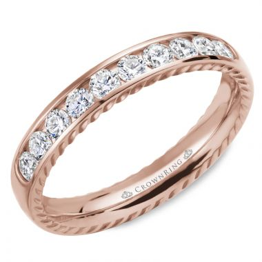 CrownRing 14k Rose Gold Diamond Rope 3.5mm Wedding band