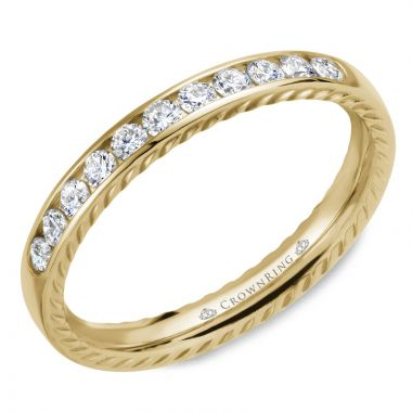 CrownRing 14k Yellow Gold Diamond Rope 3mm Wedding band