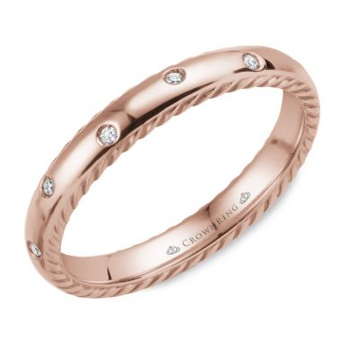 CrownRing 14k Rose Gold Diamond Rope 3mm Wedding band