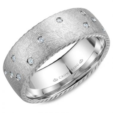 CrownRing 14k White Gold Diamond Rope 8mm Wedding band