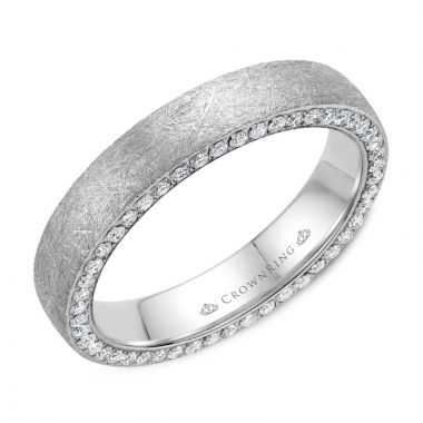 CrownRing 14k White Gold Diamond 4mm Wedding band