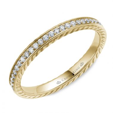 CrownRing 14k Yellow Gold Diamond Rope 2.5mm Wedding band