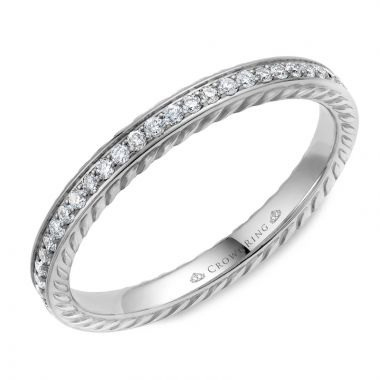 CrownRing 14k White Gold Diamond Rope 2.5mm Wedding band