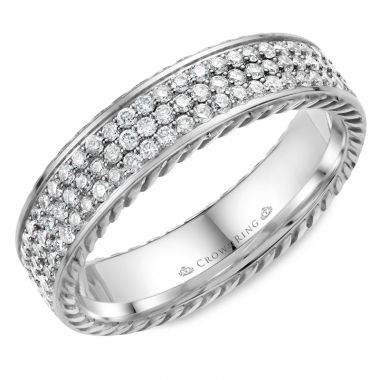 CrownRing 14k White Gold Diamond Rope 5mm Wedding band