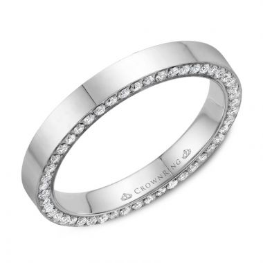 CrownRing 14k White Gold Diamond 3mm Wedding band