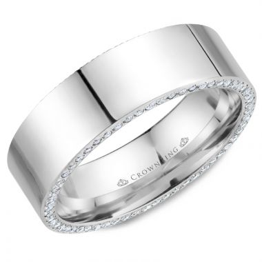 CrownRing 14k White Gold Diamond 7.5mm Wedding band