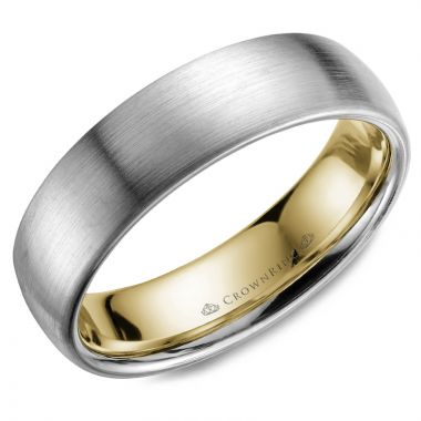 CrownRing 14k Two Tone Gold Carved 6mm Wedding Band