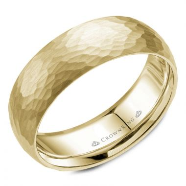 CrownRing 14k Yellow Gold Carved 7mm Wedding Band