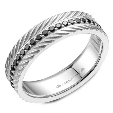 CrownRing 14k White Gold Diamond Rope 6mm Wedding band