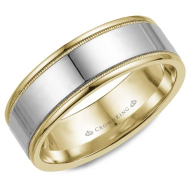 CrownRing 14k Two Tone Gold Classic 8mm Wedding Band