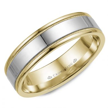 CrownRing 14k Two Tone Gold Classic 6mm Wedding Band