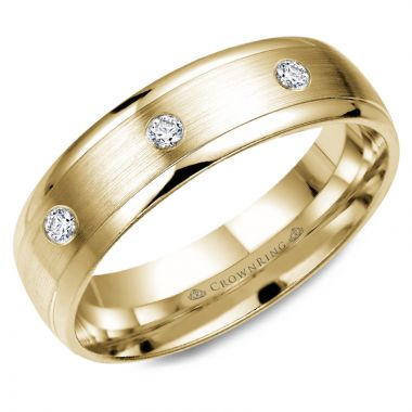 CrownRing 14k Yellow Gold Diamond 6mm Wedding band