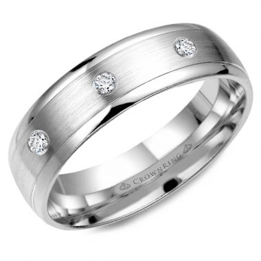 CrownRing 14k White Gold Diamond 6mm Wedding band