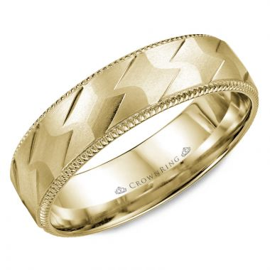 CrownRing 14k Yellow Gold Carved 6mm Wedding Band