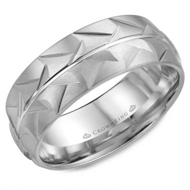 CrownRing 14k White Gold Carved 8mm Wedding Band