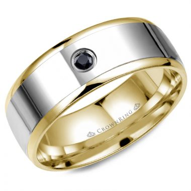 CrownRing 14k Two Tone Gold Diamond 8mm Wedding band