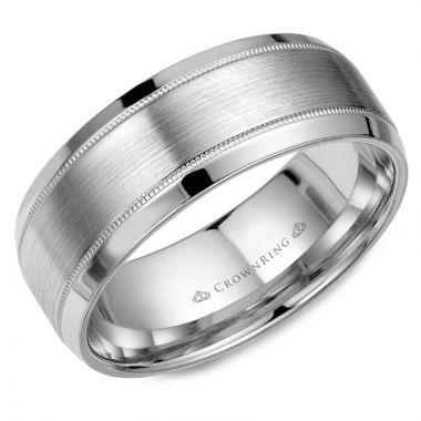 CrownRing 14k White Gold Classic 8mm Wedding Band
