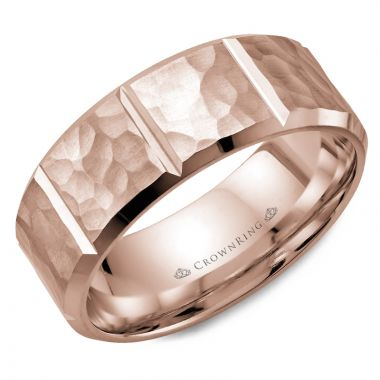 CrownRing 14k Rose Gold Carved 8mm Wedding Band