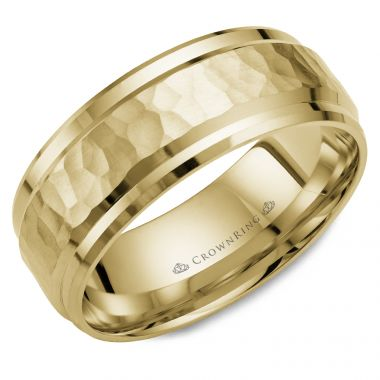 CrownRing 14k Yellow Gold Carved 8mm Wedding Band
