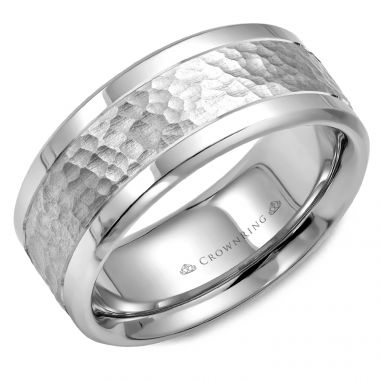 CrownRing 14k White Gold Carved 9mm Wedding Band