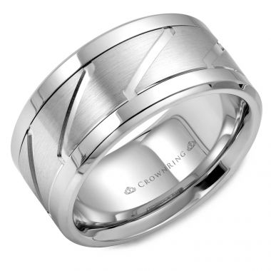 CrownRing 14k White Gold Carved 10.5mm Wedding Band