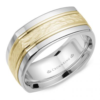 CrownRing 14k Two Tone Gold Carved 9mm Wedding Band