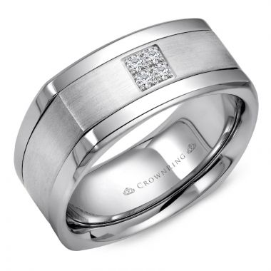 CrownRing 14k White Gold Diamond 9mm Wedding band