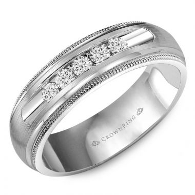 CrownRing 14k White Gold Diamond 6.5mm Wedding band