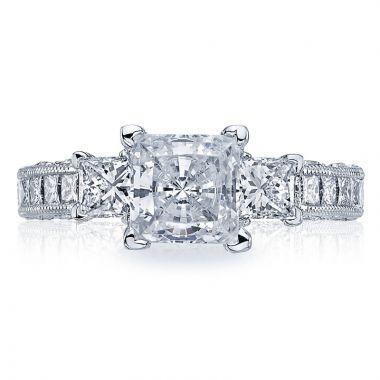 Tacori Platinum Classic Crescent Diamond 3 Stone Engagement Ring