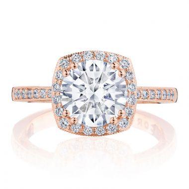 Tacori 14k Rose Gold Coastal Crescent Halo Diamond Engagement Ring