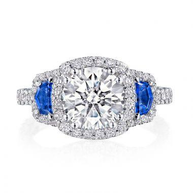 Tacori Petite Crescent RoyalT Platinum 3 Stone Engagement Ring