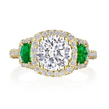 Tacori Petite Crescent RoyalT 18k Gold Yellow 3 Stone Engagement Ring