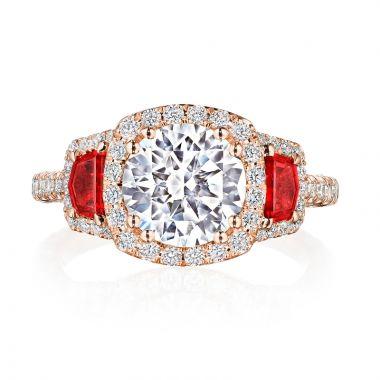 Tacori Petite Crescent RoyalT 18k Gold Rose 3 Stone Engagement Ring