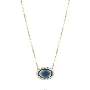 Tacori Oval Cabochon Necklace featuring Sky Blue Topaz over Hematite