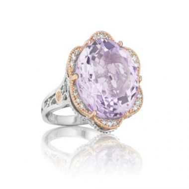 Tacori Lilac Blossoms Collection Silver & 18k Rose Gold Pavé Petals Featuring Rose Amethyst Ring