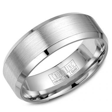 Crown Ring 14k White Gold Wedding Band