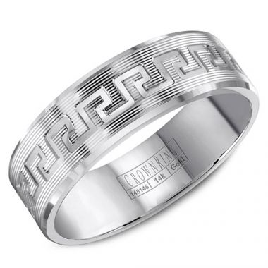 Crown Ring 14k White Gold Wedding Band