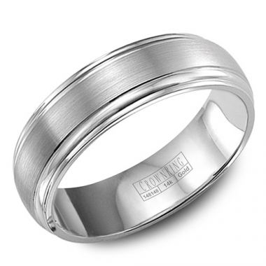 Crown Ring 14k White Gold Men's Wedding Band